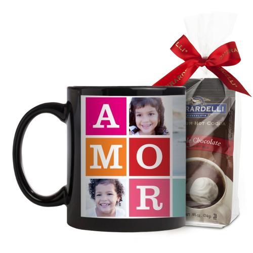 Amor Mug, Black, with Ghirardelli Premium Hot Cocoa, 11 oz, Blue