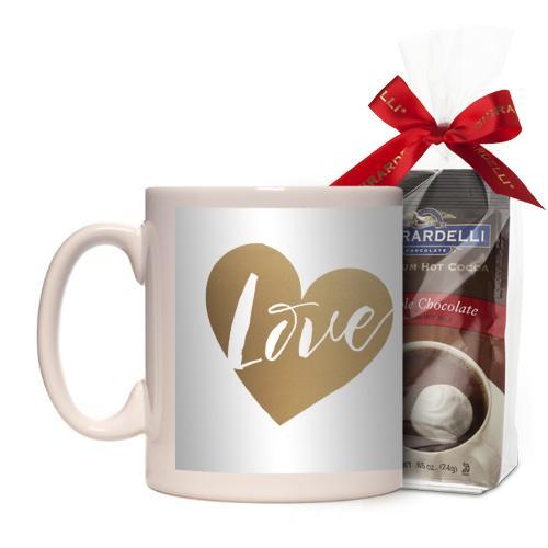 Brushed Hearts Love Script Mug, White, with Ghirardelli Premium Hot Cocoa, 11oz, goldfoil
