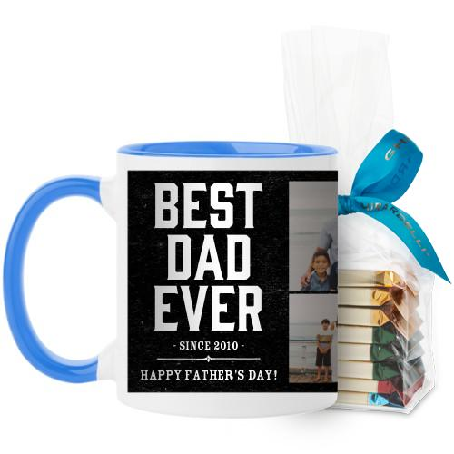 Best Dad Mug, Light Blue, with Ghirardelli Assorted Squares, 11 oz, Black