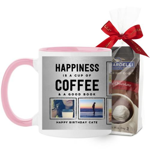 Happiness Is Mug, Pink, with Ghirardelli Premium Hot Cocoa, 11 oz, Grey
