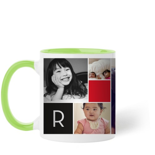 Monogram Memories Mug, Green,  , 11 oz, Red