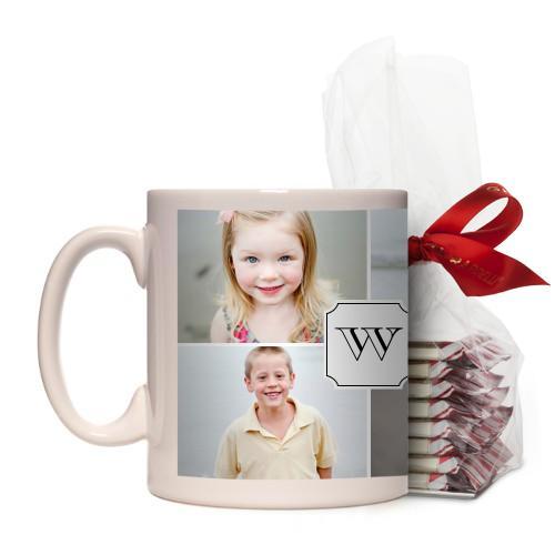 Traditional Monogram Mug, White, with Ghirardelli Peppermint Bark, 11 oz, White