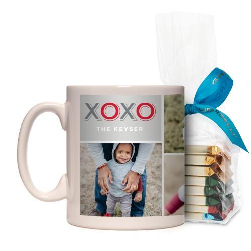 XOXO Collage Mug, White, with Ghirardelli Assorted Squares, 11 oz, Grey