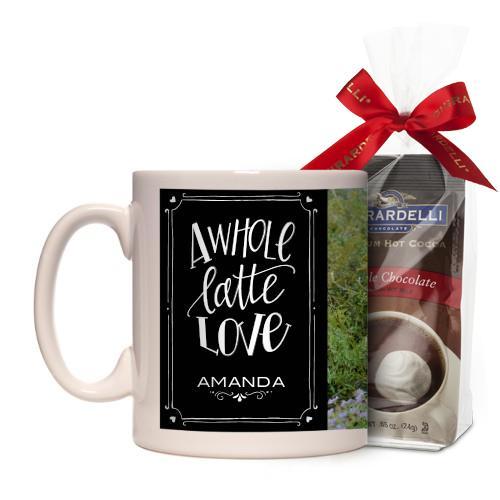 Whole Latte Love Mug, White, with Ghirardelli Premium Hot Cocoa, 11 oz, Black