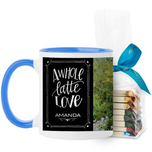 Whole Latte Love Mug, Light Blue, with Ghirardelli Assorted Squares, 11 oz, Black