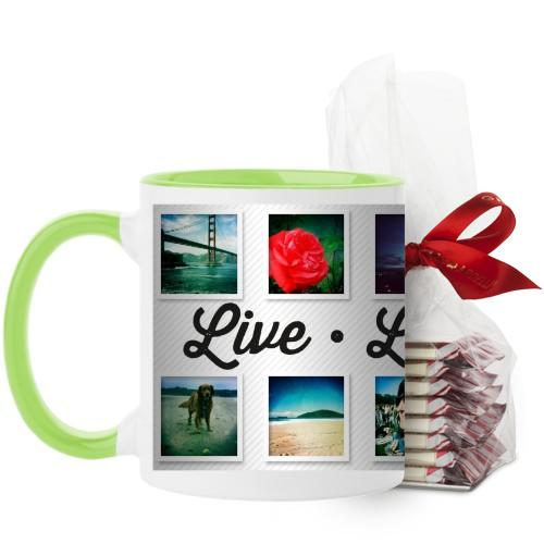 Live Laugh Love Mug, Green, with Ghirardelli Peppermint Bark, 11 oz, White