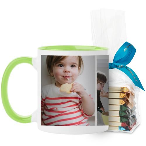 Gallery of Three Mug, Green, with Ghirardelli Assorted Squares, 11 oz, Multicolor