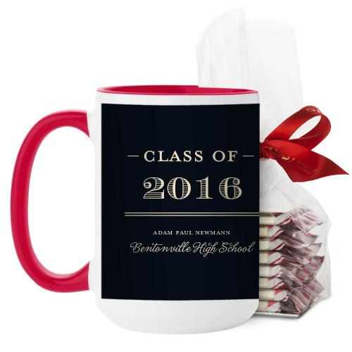 Graduation Masculine Mug, Red, with Ghirardelli Peppermint Bark, 15 oz, Black