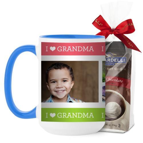 I Heart Grandma Mug, Light Blue, with Ghirardelli Premium Hot Cocoa, 15oz, Pink