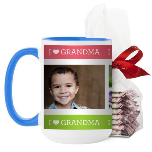 I Heart Grandma Mug, Light Blue, with Ghirardelli Peppermint Bark, 15 oz, Pink