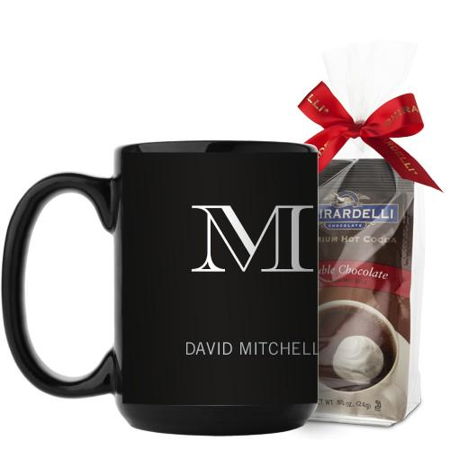 Monogram Black Mug, Black, with Ghirardelli Premium Hot Cocoa, 15 oz, Black