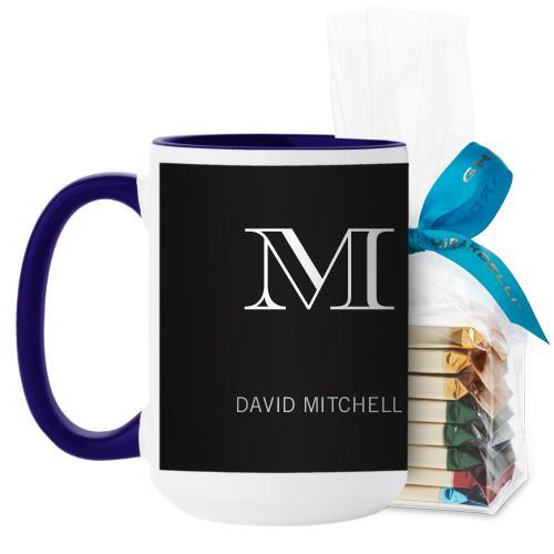 Monogram Black Mug, Blue, with Ghirardelli Assorted Squares, 15 oz, Black