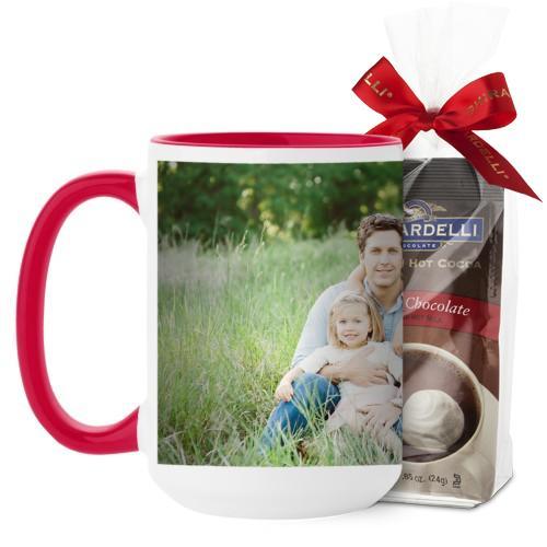 Photo Gallery Mug, Red, with Ghirardelli Premium Hot Cocoa, 15 oz, Multicolor