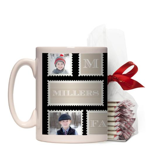 Love Family Stamps Mug, White, with Ghirardelli Peppermint Bark, 15 oz, Black