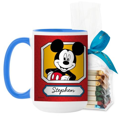 Disney Mickey And Friends Mug, Light Blue, with Ghirardelli Assorted Squares, 15 oz, Red