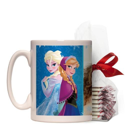Disney Frozen Anna And Elsa Mug, White, with Ghirardelli Peppermint Bark, 15 oz, Blue