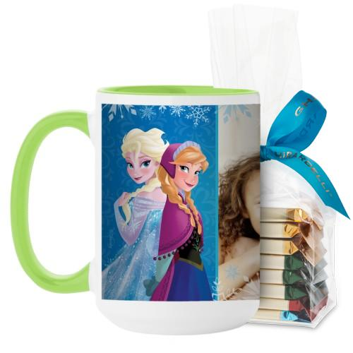 Disney Frozen Anna And Elsa Mug, Green, with Ghirardelli Assorted Squares, 15 oz, Blue