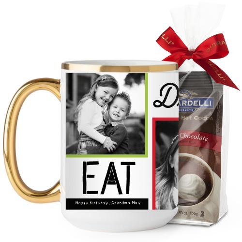 Eat Drink Be Merry Mug, Gold Handle, with Ghirardelli Premium Hot Cocoa, 15 oz, Red