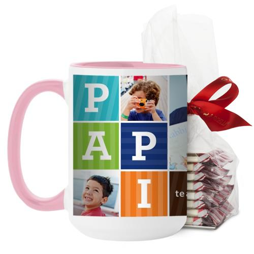 Papi Mug, Pink, with Ghirardelli Peppermint Bark, 15 oz, Brown