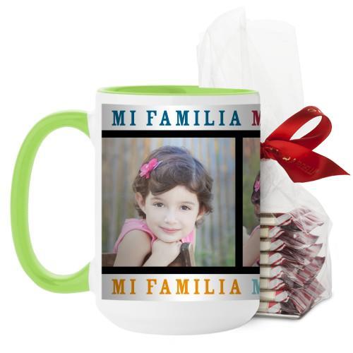 Mi Familia Mi Vida Mi Felicidad Mug, Green, with Ghirardelli Peppermint Bark, 15oz, White