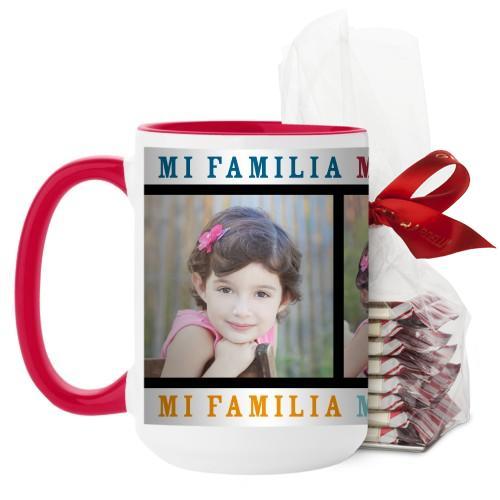 Mi Familia Mi Vida Mi Felicidad Mug, Red, with Ghirardelli Peppermint Bark, 15 oz, White