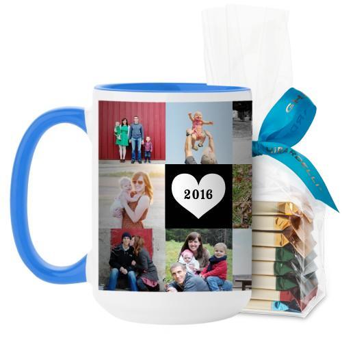 Love Grid Mug, Light Blue, with Ghirardelli Assorted Squares, 15 oz, Black