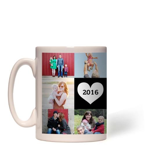Love Grid Mug, White,  , 15oz, Black