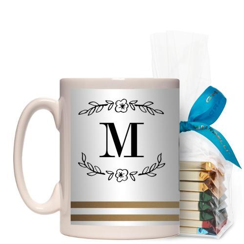 Flourish Striped Border Mug, White, with Ghirardelli Assorted Squares, 15 oz, goldfoil