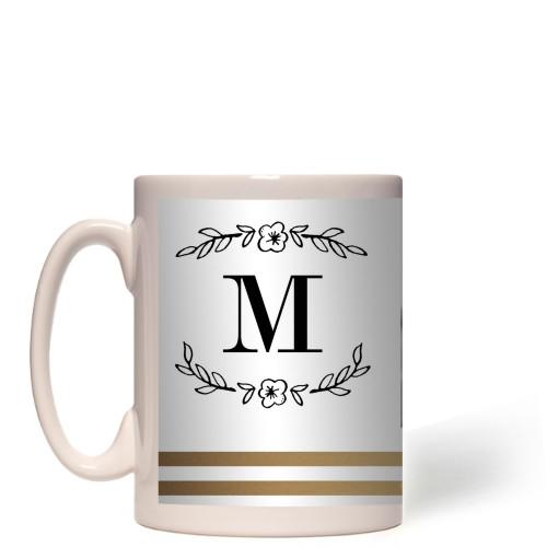 Flourish Striped Border Mug, White,  , 15 oz, goldfoil