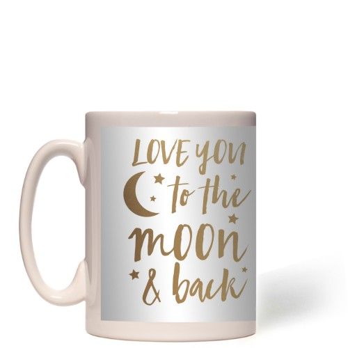 Hand Drawn Frames To the Moon Mug, White,  , 15 oz, goldfoil