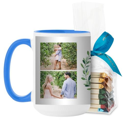 Foliage Circle Mug, Light Blue, with Ghirardelli Assorted Squares, 15 oz, Green