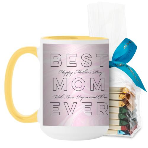 Best Mom Marbleized Mug, Yellow, with Ghirardelli Assorted Squares, 15 oz, Pink
