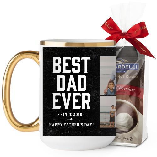 Best Dad Mug, Gold Handle, with Ghirardelli Premium Hot Cocoa, 15 oz, Black