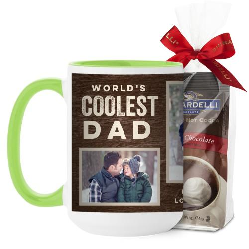 Coolest Dad Mug, Green, with Ghirardelli Premium Hot Cocoa, 15 oz, Brown