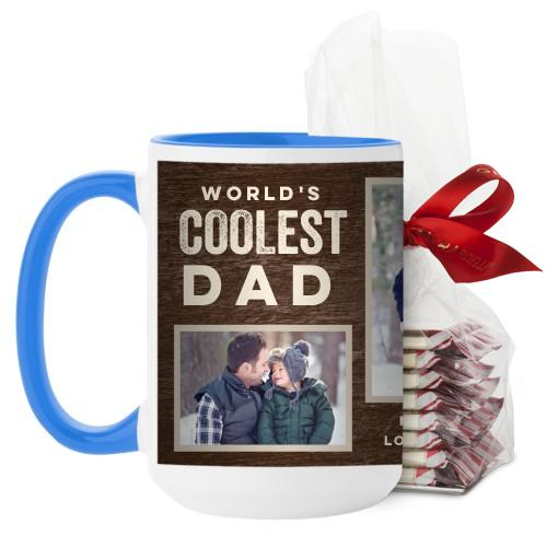 Coolest Dad Mug, Light Blue, with Ghirardelli Peppermint Bark, 15 oz, Brown