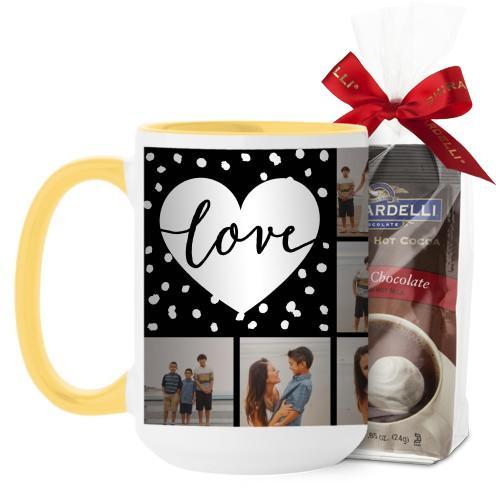 Love Script Grid Mug, Yellow, with Ghirardelli Premium Hot Cocoa, 15 oz, Black