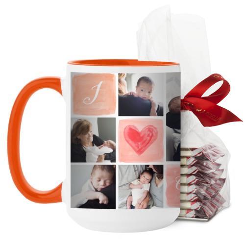 I Love Watercolor Mug, Orange, with Ghirardelli Peppermint Bark, 15 oz, Pink