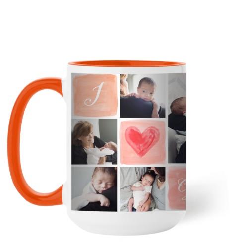 I Love Watercolor Mug, Orange,  , 15 oz, Pink