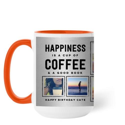 Happiness Is Mug, Orange,  , 15 oz, Grey