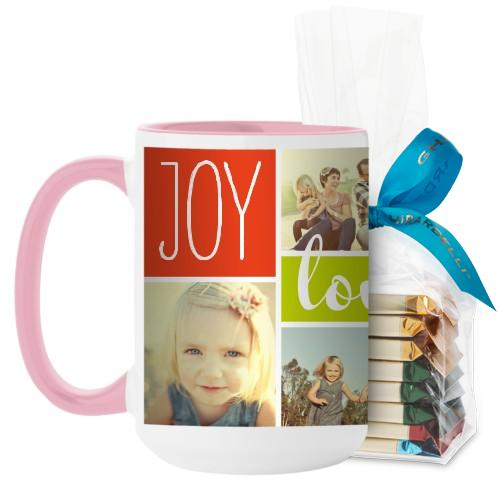 Joy Love Family Mug, Pink, with Ghirardelli Assorted Squares, 15oz, Multicolor