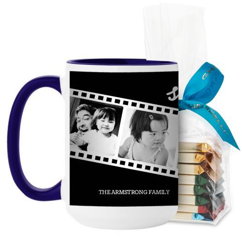 Filmstrip Fun Mug, Blue, with Ghirardelli Assorted Squares, 15 oz, Black
