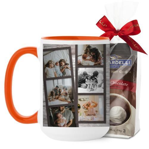 Family Filmstrips Mug, Orange, with Ghirardelli Premium Hot Cocoa, 15 oz, Brown