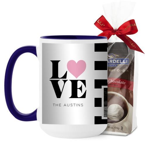 Love Block Stripes Mug, Blue, with Ghirardelli Premium Hot Cocoa, 15 oz, Black