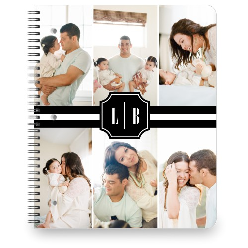Black and White Monogram Large Notebook, 8.5x11, Black