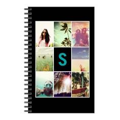 monogram grid collage 5x8 notebook