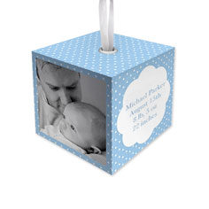 baby boy dot cube ornament