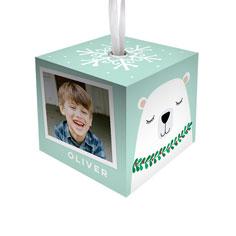 happy holidays polar bear cube ornament