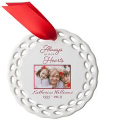always in our hearts ceramic ornament