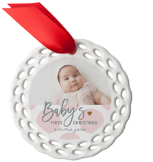 babys first christmas dots ceramic ornament
