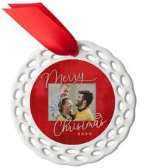 very vibrant christmas ceramic ornament